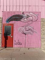 Flamingos outside Retro Vegas