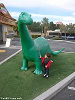 Tiffany checks out a Sinclair Dinosaur in Las Vegas